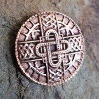 Knopf mit keltischem Knoten-Ornament in Kreuzform aus Bronze