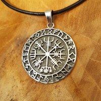 """Vegvisir Anhänger """"HULD"""", verziert mit nordischen Runen, aus 925 Sterling Silber"""