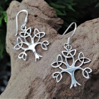 Weltenbaum Ohrhänger mit Äasten in Form keltischer Knoten aus 925er Sterling Silber