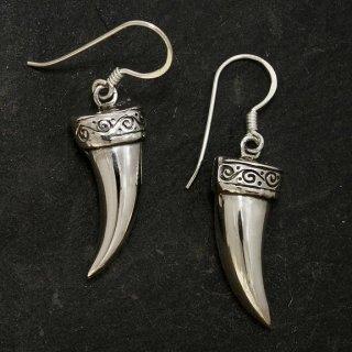 Fenrirs Fang (Zahn) Schmuck Ohrhänger aus 925er Sterling Silber