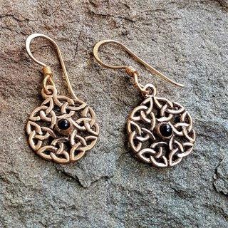 """Keltische Ohrhänger mit Onyx """"BORGAN"""" aus Bronze"""