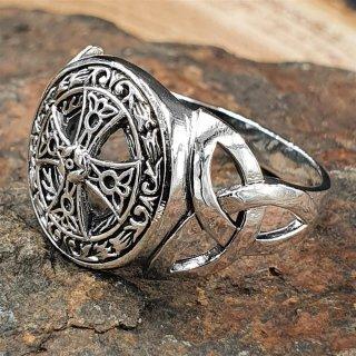Keltisches Kreuz 925 Sterling Silber Ring Siegelring mit Triquetra