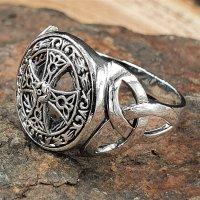 Keltisches Kreuz 925 Sterling Silber Ring Siegelring mit Triquetra 70 (22,3) / 12,9 US