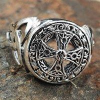 Keltisches Kreuz 925 Sterling Silber Ring Siegelring mit Triquetra 74 (23,5) / 14,5 US