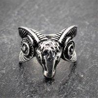 "Ziegenbock Ring ""Tanngrisnir"" aus Edelstahl 68 (21,6) / 12 US"