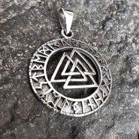 "Valknut Schmuck Anhänger ""KETILL"" verziert mit nordischen Runen aus 925er Sterling Silber"