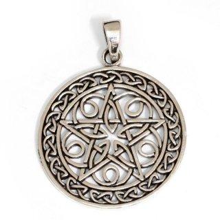 """Keltischer Knoten Anhänger """"MORGAN"""" mit Pentagramm, aus Silber"""