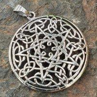 """Keltischer Knoten Anhänger """"GAWAIN"""" mit Pentagramm, aus Silber"""