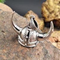 Wikingerhelm Schmuckanhänger mit Hörner aus 925er Silber