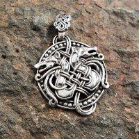 """Wikinger Anhänger """"DRACHA"""", verziert mit zwei nordische Drachen, aus 925er Sterling Silber"""