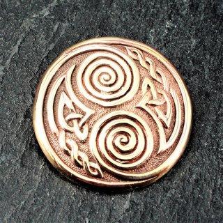 """Keltische Rundfibel """"SPIRO"""" mit Spiralen Muster aus Bronze"""
