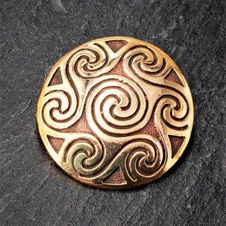 """Keltische Rundfibel """"NIA"""" mit Spiralen Muster aus Bronze"""