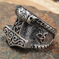 Thorshammer Ring mit keltischen Knoten aus Edelstahl 60 (19,0) / 9 US