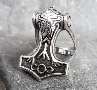 """Thors Hammer """"ODIN"""" Ring aus Edelstahl 60 (19,0) / 9 US"""