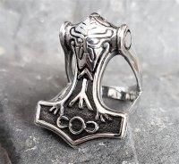 """Thors Hammer """"ODIN"""" Ring aus Edelstahl 66 (21,0) / 11 US"""