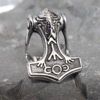 """Thors Hammer """"ODIN"""" Ring aus Edelstahl 68 (21,6) / 12 US"""