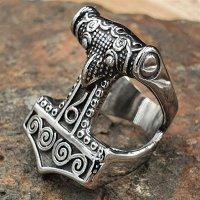 "Thors Hammer Ring ""ZERMALMER"" aus Edelstahl"