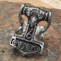 "Thors Hammer Ring ""ZERMALMER"" aus Edelstahl 57 (18,5) / 8 US"