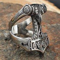 "Thors Hammer Ring ""ZERMALMER"" aus Edelstahl 66 (21,0) / 11 US"