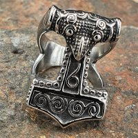 "Thors Hammer Ring ""ZERMALMER"" aus Edelstahl 70 (22,3) / 13 US"