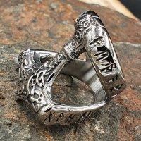 Thors Hammer Ring mit nordischen Runen aus Edelstahl