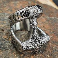 Thors Hammer Ring mit nordischen Runen aus Edelstahl 66 (21,0) / 11 US