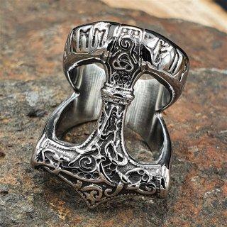 Thors Hammer Ring mit nordischen Runen aus Edelstahl 68 (21,6) / 12 US