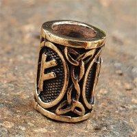 """Futhark Bartperle Rune """"FEHU"""" aus Bronze"""