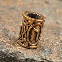 """Futhark Bartperle Rune """"URUZ"""" aus Bronze"""