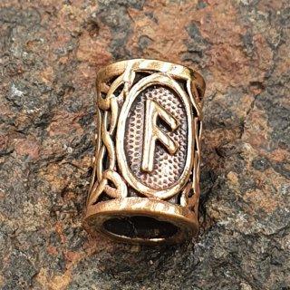 """Futhark Bartperle Rune """"ANSUZ"""" aus Bronze"""