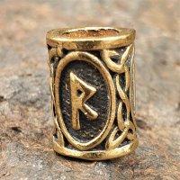 "Futhark Bartperle Rune ""RAIDHO"" aus Bronze"