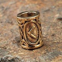 """Futhark Bartperle Rune """"KENAZ"""" aus Bronze"""