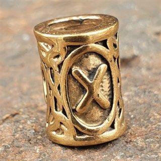 "Futhark Bartperle Rune ""GEBO"" aus Bronze"
