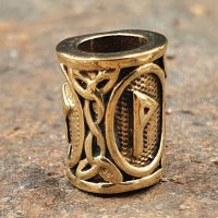 """Futhark Bartperle Rune """"WUNJO"""" aus Bronze"""