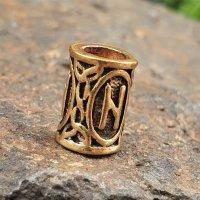 """Futhark Bartperle Rune """"HAGALAZ"""" aus Bronze"""