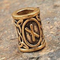 """Futhark Bartperle Rune """"NAUDHIZ"""" aus Bronze"""