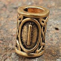 """Futhark Bartperle Rune """"ISA"""" aus Bronze"""