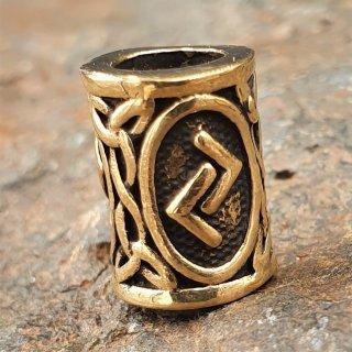 """Futhark Bartperle Rune """"JERA"""" aus Bronze"""