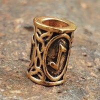 """Futhark Bartperle Rune """"EIHWAZ"""" aus Bronze"""