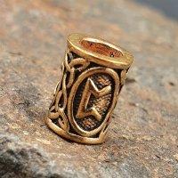"""Futhark Bartperle Rune """"PERTHRO"""" aus Bronze"""