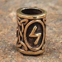 "Futhark Bartperle Rune ""SOWILO"" aus Bronze"