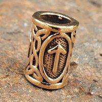 """Futhark Bartperle Rune """"TIWAZ"""" aus Bronze"""