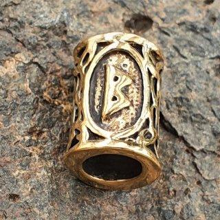 """Futhark Bartperle Rune """"BERKANA"""" aus Bronze"""