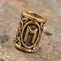 """Futhark Bartperle Rune """"EHWAZ"""" aus Bronze"""