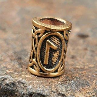 """Futhark Bartperle Rune """"LAGUZ"""" aus Bronze"""