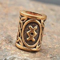 """Futhark Bartperle Rune """"INGWAZ"""" aus Bronze"""