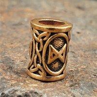 """Futhark Bartperle Rune """"DAGAZ"""" aus Bronze"""