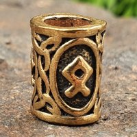 """Futhark Bartperle Rune """"OTHALA"""" aus Bronze"""