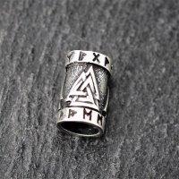 Valknut Bartperle mit Runen aus 925er Sterling Silber