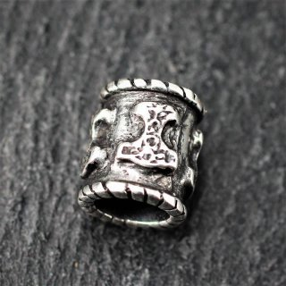 Wikinger Bartperle Thorshammer aus 925er Sterling Silber